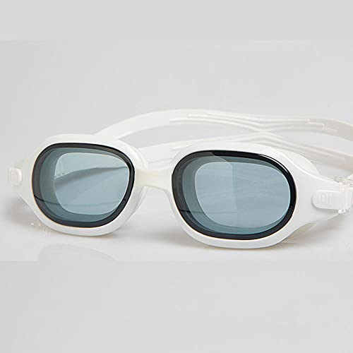 LSJA0 gafas natación adulto antivaho Ninguna fuga a prueba de agua Espejo ajustable con hombres y mujeres Universal White No Plating-blanco_-3.5