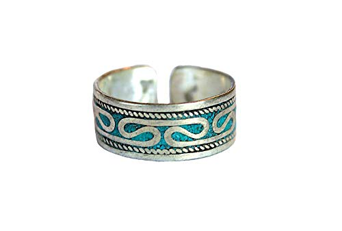 Bohemian Style Adjustable Mosaic Stabilized Blue Turquoise Cuff Ring   Argentium Plated Stainless Steel Jewelry