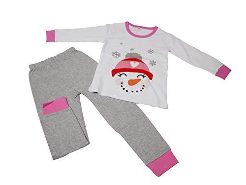 Pijamas para Niña Niño Bebé 2 Piezas de Mangas Largas Suave Algodón Reno de Navidad Muñeco de Nieve Ropa Navideña Infantil - Rosa Gris 90