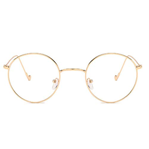 lujiaoshout Runde Brille Klare Sichtscheibe, Metallrahmen Retro-Brillen Dekorative Brillen Augen Dekor Goldene