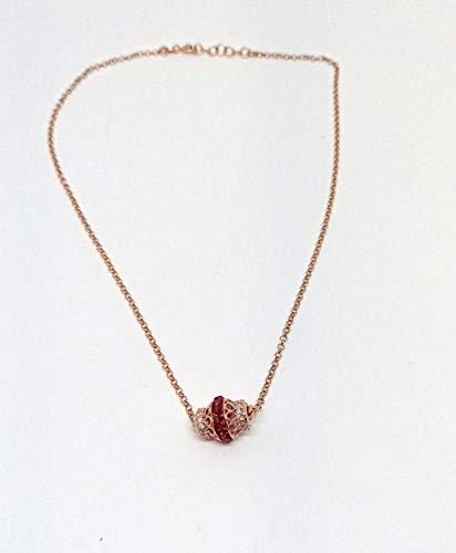 OTTAGONO Collar de plata 925 con barra central de 14 x 12 mm, circonitas de cristal y piedras de colores (GCC0001) (fucsia, chapado en oro rosa)