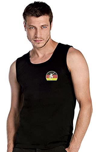 Skateboarden Deutsche Flagge Fahne Sport Bestickte Top Tank Armlos T-Shirt Premium-Qualität - SPRT 2072- Schwarz