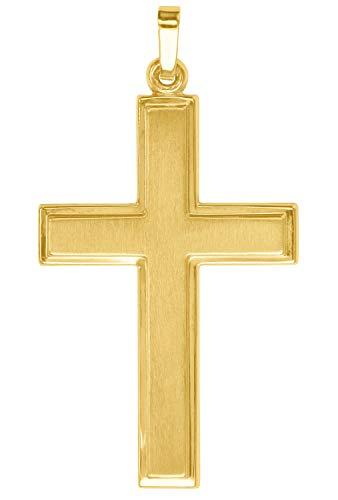 MyGold Kreuz Anhänger (Ohne Kette) Gelbgold 585 Gold (14 Karat) 40mm x 22mm Kreuzanhänger Goldkreuz Herrenanhänger Bologna V0009481