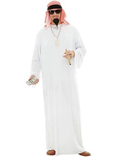 Funidelia   Disfraz de rabe para Hombre Talla XL Jeque, Petrleo, Dinero - Color: Blanco - Divertidos Disfraces y complementos para Carnaval y Halloween