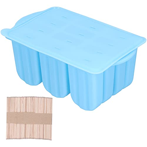 Moldes de silicona para paletas, molde para helado con tapa, 50 palitos de madera para paletas de bricolaje