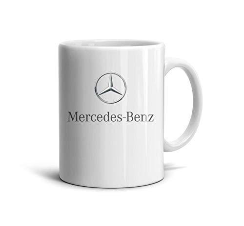 Happy-life Weiße Keramik-Kaffeetasse mit Mercedes-Benz-Logo, inspirierende 330 ml Teetasse für Freund, Vater, Opa, Bruder Geschenke