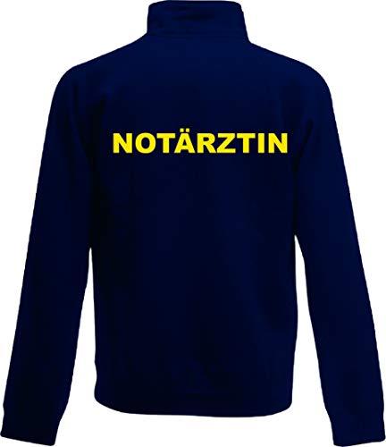 Shirt-ideen.com NOTÄRZTIN/Notarzt Zip Neck Sweat Navy (dunkelblau) mit Brust und Rückenaufdruck in Neongelb (Notarzt, S)