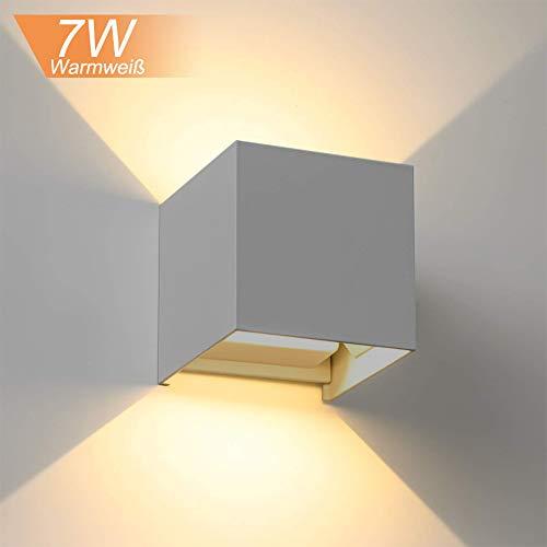 INHDBOX 7W Wandleuchte Aluminium Druckguss Außenwandlampe Schutzart IP65 mit Variablem Lichtaustritt nach oben und unten in Würfelform (Grau, 7W)