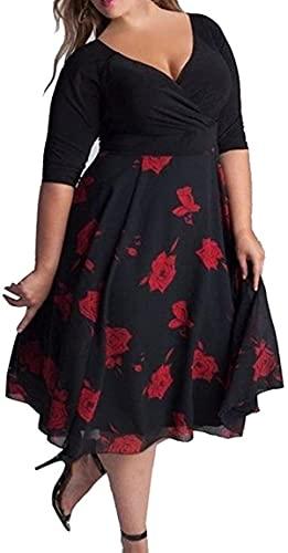 Vestidos de talla grande para mujeres, vestido de manga larga para banquetes vestidos florales de cintura alta regalos vestidos de mujer