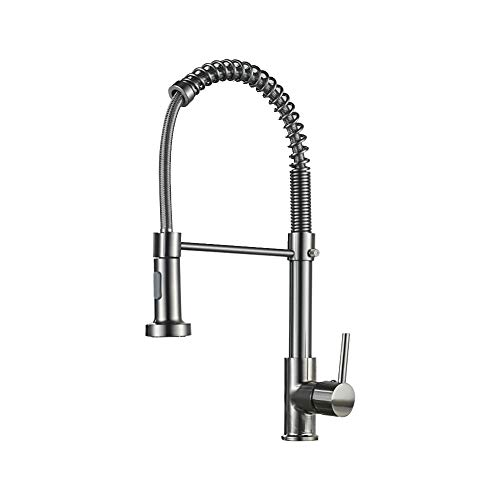 Axonl Kitchen Faucet, Kitchen Sink Spring Pull Down Sprayer, Utility Single Handle Brass Faucet with Hot & Cold Water Valve Switch, Heavy Duty Sink Faucet with 2 Water Flow Modes (Brushed Silver)
