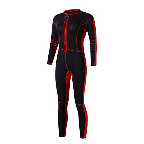perfk Frauen Langarm 3mm Schwimmanzug Ganzkörper Neoprenanzug Surfanzug Rash Guard Badeanzug zum Tauchen Schnorcheln Wassersport - L