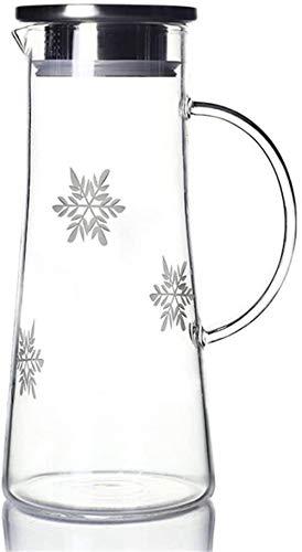 Tetera Tetera de 1,5 l / l Bidón de agua de la jarra de cristal BPA libre de garrafa de primera calidad Boquilla / con tapa de acero inoxidable y práctica asa de la jarra de cristal Primer plano de ci