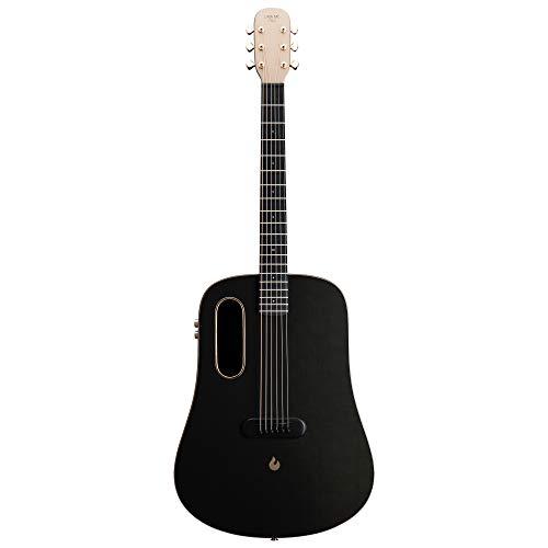 LAVA ME PRO Guitarra de fibra de carbon con efectos Guitarra Profesional Acústica Eléctrica de Viaje con bolsa y Cable de carga (FreeBoost, Negro Dorado, 41 Inch)