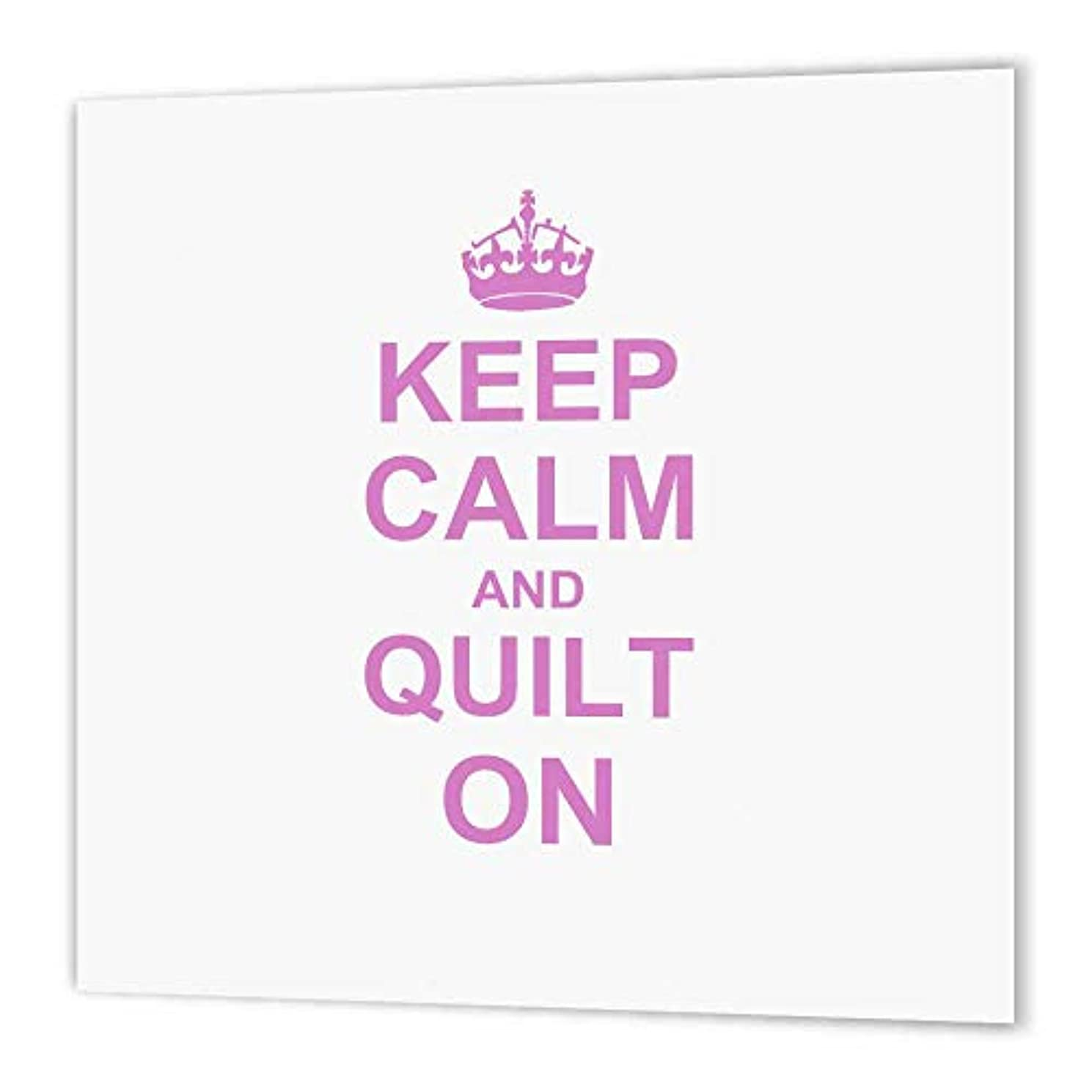 3dRose ht_157760_3 Keep Calm and Quilt on Carry on Quilting Quilter Gifts Pink Fun Humor- Iron on Heat Transfer, 10 by 10-Inch, for White Material