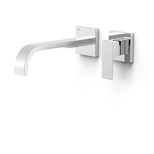 Grifo monomando empotrado para lavabo, gama Cuadro-Tres, con amortiguadores acústicos y caño de 240 milímetros, 31,4 x 19,4 x 7,4 centímetros, acabado cromo (referencia: 630002)