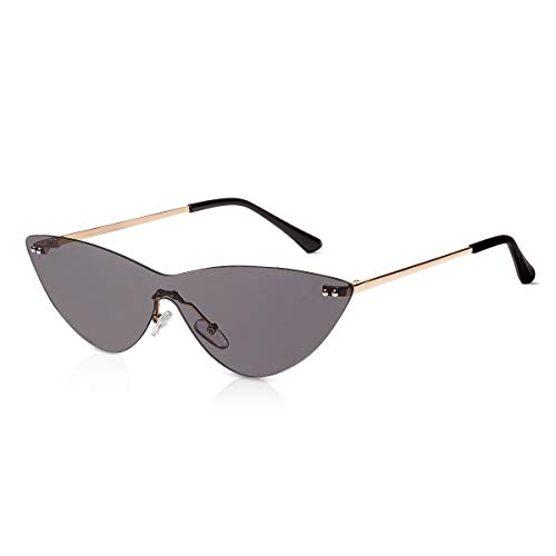 LumiSyne Damen Katzenaugen Retro Sonnenbrille Transparenter Siamesische Linse Metall Rahmen Randlos Mode Jahrgang Party Brille UV Schutz Geschenkbox(Grau)