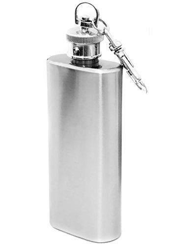 Outdoor Saxx® - Edelstahl Flachmann 60ml, Mini Taschen-Flasche Trink-Flasche Schnaps-Flasche für zB. Whiskey Schnaps, Edelstahl gebürstet mit Karabiner, 60ml