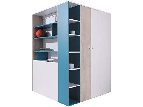 Furniture24 Eckkleiderschrank Planet PL-1, Garderobenschrank, Begehbarer Kleiderschrank, Schrank mit Einlegeböden, Schubladen, Kleiderstange und Innebeleuchtung (Weiß/Eiche/Marine)