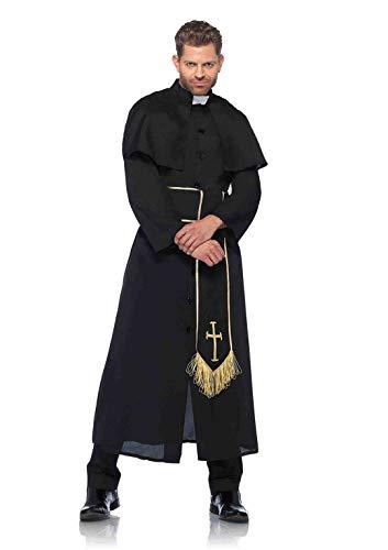 Leg Avenue Priest Adult Sized Costumes, Noir, Black Homme