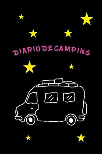 Cuaderno de diario de camping con dibujos de autocaravanas y estrellas -...