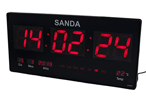 Sanda SD-0006 Reloj Digital de Pared Led Color Rojo Calendario Termometro Clock Hora Fuente de Alimentacion