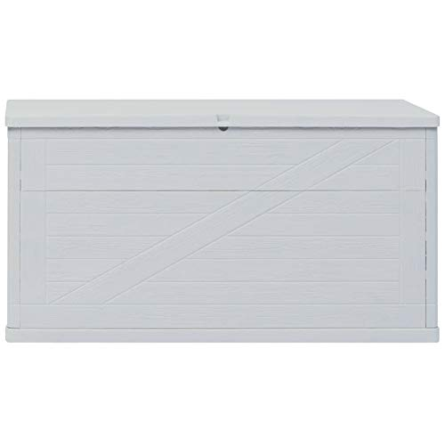 BIGTO Garden Storage Box Plastic (with wood texture) 120 x 56 x 63 cm (L x W x H), Light grey
