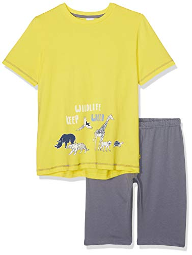 Sanetta Jungen Pyjama Short Zweiteiliger Schlafanzug, Gelb (Lemon 2225), 092