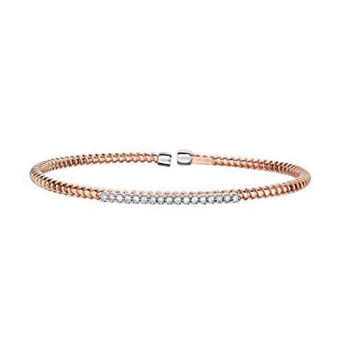 Armreif, 14 Karat Rotgold, 3 mm, 0,17 Karat, 1 Zeiger, facettierter Diamant, flexibel, stapelbar, Schmuck, Geschenke für Frauen