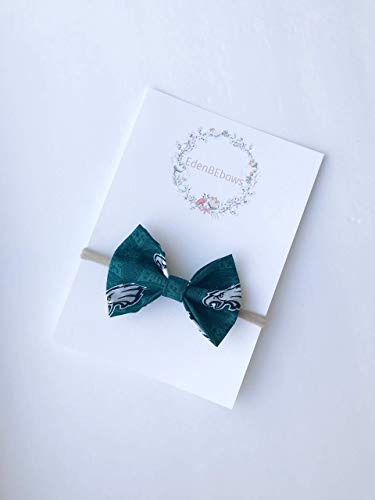Philadelphia Eagles headband bow - great for baby shower, newborn, toddler girls - extra soft nylon headbands - Made in USA