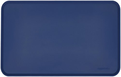 AmazonBasics Waterproof Anti-Slip Silicone Pet Food and Water Bowl Mat, 18.5 x 11.5 Inches, Blue