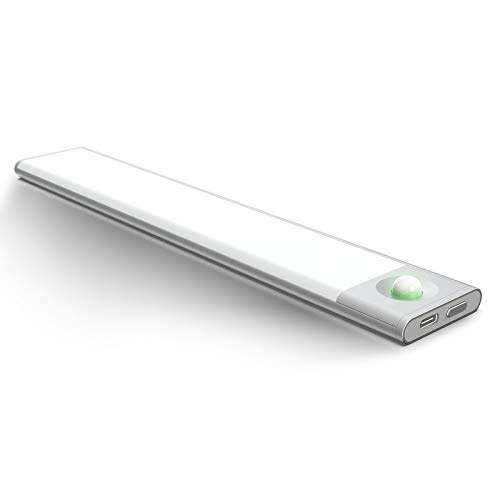 chalvh Luz Led Sensor Movimiento, Inalámbrico Ultradelgado de 0.3 Pulgadas Portátil Luces Armario con Sensor Movimiento Y Banda Magnética Con El USB De Carga RáPida, Para Pasillo Escalera Garaje
