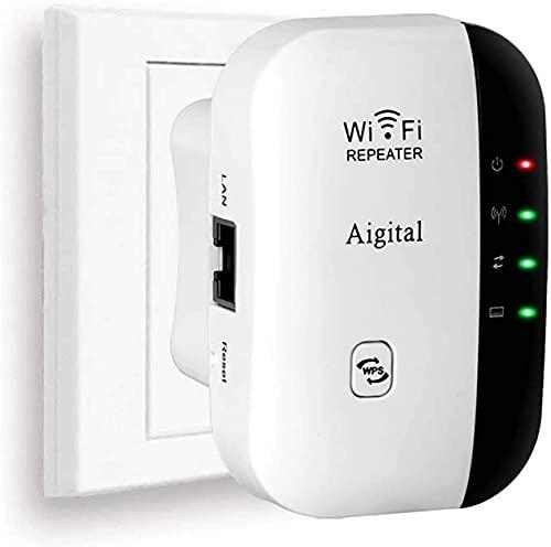 Aigital WiFi Ripetitore Wireless Range Extender Universale/repeater WiFi Booster Supporto Access Point AP / Modalità Amplificatore 2.4GHz 300Mbps Conforme allo Standard IEEE802 11 N/G/B, dotato di WPS