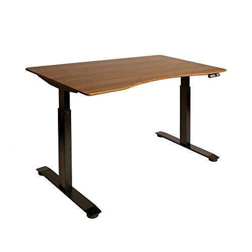 "Seville Classics S2 Electric Standing Desk with 54"" Top, Dual Motors, 4 Memory Buttons, LED Height Display (Max. 48.4"" H) 2-Section Base, Black/Walnut"