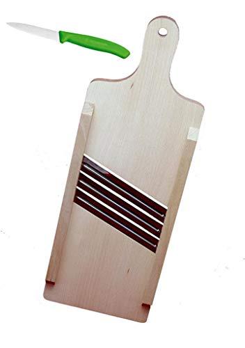 Krauthobel Krautschneider Sauerkrauthobel Kohlhobel Kohlreibe Gemüsehobel - aus heimischem Lindenholz - Tiroler Art, 3 Messer, 44 x 15 cm, mit Gemüsemesser, beide sehr scharf!