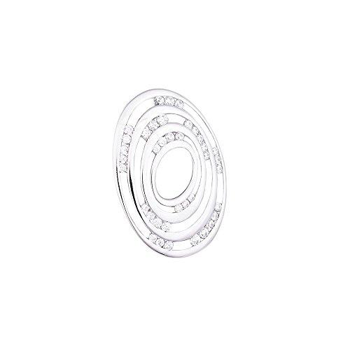 ASS Ciondolo da donna in argento 925, per bambini, ovale, lucido, con zirconi bianchi