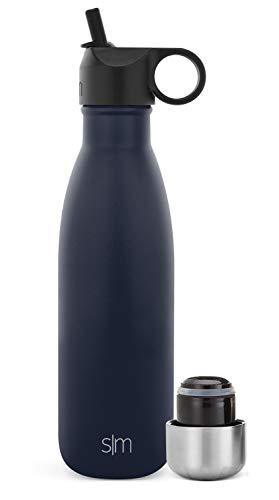 Simple Modern Apex Botella Agua Acero Inoxidable Térmica con 2 Tapas: Pajita Reutilizable y Atornillable 355/470/590/710ml Prueba De Fugas Termo sin BPA 24 Horas Frio Botellas para Niños Doble Pared