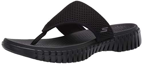Skechers Women's GO Walk SMART-140055 Flip-Flop, Black, 10 Medium US