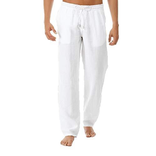 BOLANQ Shorts Herren, Mens Summer Einfache und modische Hose aus Reiner Baumwolle und Leinen(X-Large,Weiß)