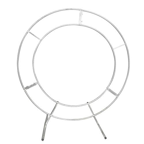 LOYALHEARTDY 1.2m Double Tube Round Wedding Stand Silver, Arch Framework Stand Metal Round Wedding Party Circular Floral Moon Archway Backdrop Romantic Venue Decor (1.2m/47inch)