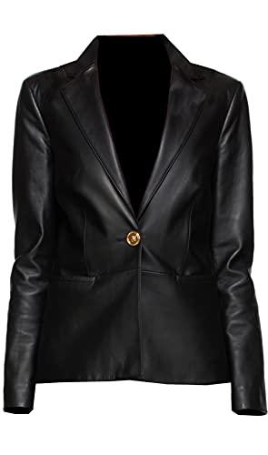 TIPTOP Emiliia solo botón abrigo para las mujeres cuero genuino chaqueta Missy Smart Fit & tamaño regular negro