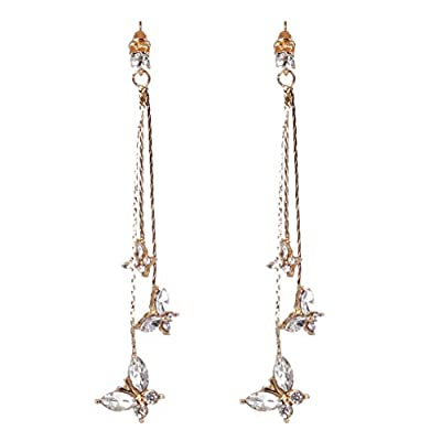 Cngstar Shiny Three Butterfly Rhinestone Drop Earring for Women Girls Korean Long Tassel Dangle Earings Statement Earrings Jewelry (Gold)