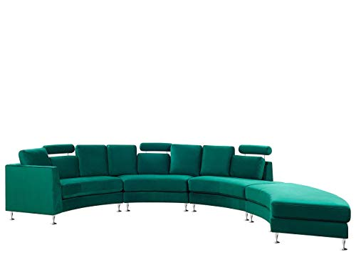Beliani Modern Curved Sectional Sofa with Ottoman and Headrests Velvet Dark Green Rotunde