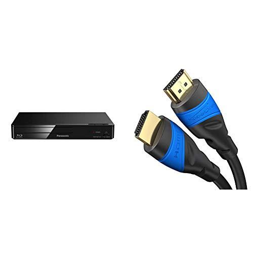 Panasonic DMP-BDT167EG Kompakter 3D Blu-ray Player (Full HD Upscaling, Internet Apps, LAN-Anschluss, USB, MKV-Playback) schwarz & KabelDirekt – 2 m – 4K HDMI-Kabel (4K@120Hz & 4K@60Hz schwarz)