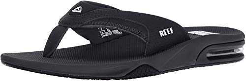 Reef Men's Fanning Flip Flop, BLACK/SILVER, 12 D - Medium