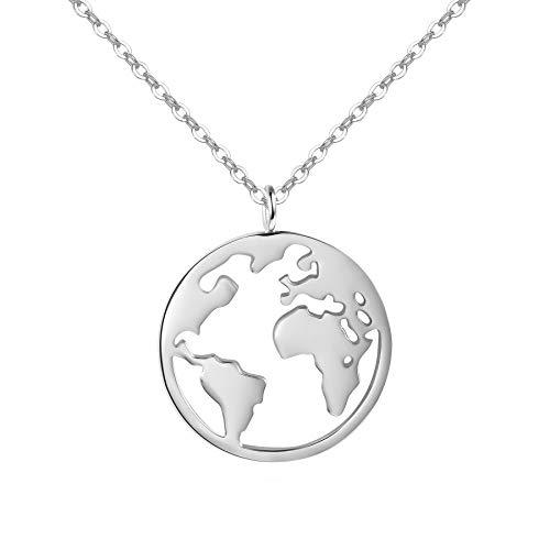URBANHELDEN - Damen-Kette mit Weltkarten Anhänger - Hochwertige Hals Kette World Amulett aus Edelstahl - Damen Schmuck in Silber