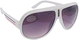 White Thick Frame Billionnaire Flight Style Sunglasses UV400 Protection (Pack of 3)