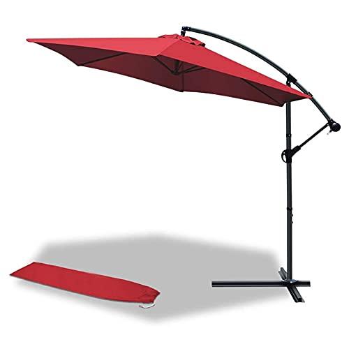 Yuxahiug Sombrilla de jardín voladizo de 3 m, paraguas de plátano con manivela e inclinación para sombra de sol al aire libre (rojo)
