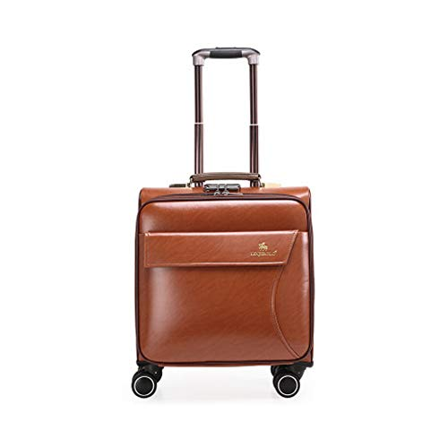 20In Mini Business Suitcase PU Cortex Boarding The Chassis Lightweight Suitcase With Password Lock Durable Trolley Case For Men And Women International Travel,Khaki