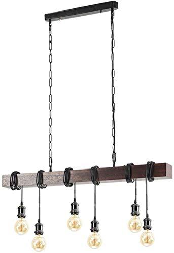 GHY 6 Lichter Bauernhof Kronleuchter Holz Beleuchtung Industrie-Anhänger-hängendes mit justierbarem Vintage-Deckenleuchte für Esszimmer Billardtisch Kitchen Island Bar Retro-Lampe