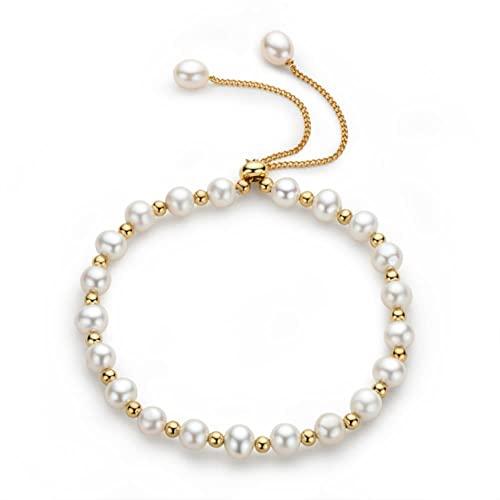 JIUDELE Pulsera de perlas rellenas de oro de 14 quilates de cultivo natural de agua dulce de 5 a 6 mm de perlas ovaladas para mujer, regalo de joyería